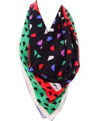 Saint Laurent Ysl Vintage Silk Scarf In Red Green Pink Black & Abstract Print - White
