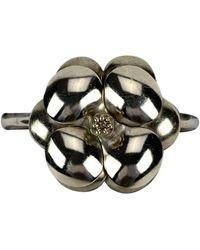 Chanel Vintage Silver Metal Camellia Flower Bangle Bracelet - Metallic