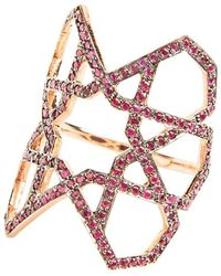 Ralph Masri Arabesque Deco Ruby Ring - Multicolor