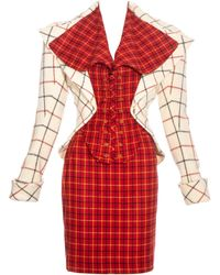 Vivienne Westwood Red And Cream Harris Tweed Corseted Skirt Suit, Fw 1995 - White