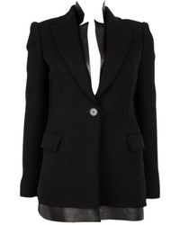 Alexander McQueen Cashmere Leather Layered Blazer Jacket 38 - Black