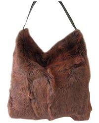 Dolce & Gabbana Fur Tote Bag Handbag Hobo Purse New Never Used - Brown