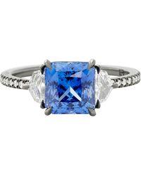 Eva Fehren 2.52 Ct Blue Sapphire Ring With 0.45 Carat Diamonds In 18k Gold - White