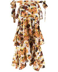 Ellery Floral Print Ruffled Midi Skirt - Size Us 2 - Orange