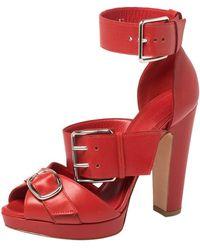 Alexander McQueen - Leather Buckle Strappy Platform Sandals Size 36 - Lyst