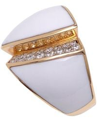Chimento 18 Karat Rose Gold Desiderio Ring With Agate And Diamonds - White