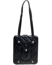 Chanel Quilted Leather Zip Around Bag - Black