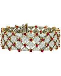 Tiffany & Co. - Diamond Ruby Gold Platinum Tennis Bracelet - Lyst