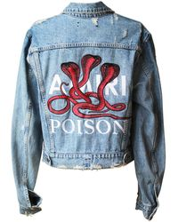 Amiri Oversized Embroidered Distressed Denim Jacket - Blue