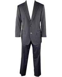 Dolce & Gabbana 40 Regular Navy Stripe Wool Notch Lapel Suit - Blue