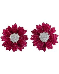 Sabbadini Ruby Diamond Invisible Set Flower Earrings - Red