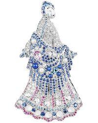Faberge Lara Talashkino 18k Gold Brooch With Diamonds, Coloured Gemstones - White