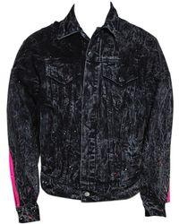 Amiri Acid Washed & Distressed Denim Stripe Detail Jacket S - Black