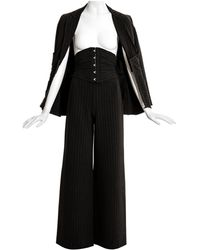 Jean Paul Gaultier Gray Pinstripe Wool Three Piece Corseted Pant Suit, C. 2000s