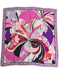 Emilio Pucci Pucci Signed Silk Twill Print Scarf 34 X 34 - Purple