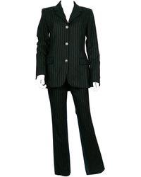 Jean Paul Gaultier Vintage Bi-material Striped Wool And Denim Pants Suit - Black