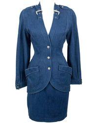 Thierry Mugler 1980's Designer Vintage Suit Denim Skirt & Blazer W Buckles - Purple