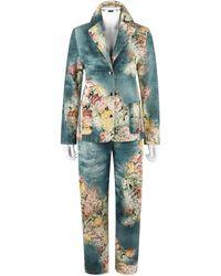 Alexander McQueen A/w 1996 2pc Floral & Denim Print Blazer Pant Suit Set - Gray