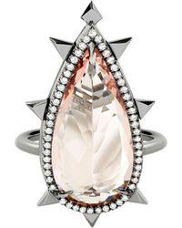 Eva Fehren Morganite Ring In 18 Karat Gold With Diamonds - White