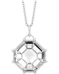 Goshwara Octagon Rock Crystal And Diamond Pendant - Multicolor