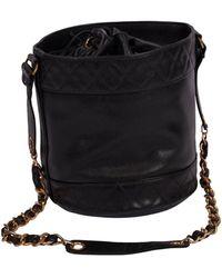 Chanel Vintage Caviar Drawstring Cc Bucket Crossbody Bag - Black
