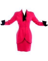 Thierry Mugler Vintage Strawberry Skirt & Blazer Suit W Black Velvet Trim - Red