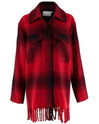Alexander Wang & Black Checked Flannel Coat 2 - Red