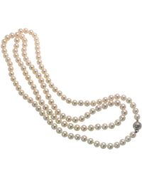 Tasaki 18 Karat Akoya Pearl Diamond Necklace - Metallic