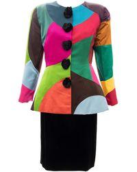 Oscar de la Renta Runway Silk Color-block Skirt Suit, Fall 1991 - Multicolor