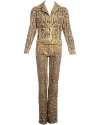 Roberto Cavalli Printed Cotton Embellished Pant Suit, Ss 2001 - Yellow