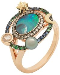 Bibi Van Der Velden Small Galaxy Opal Ring - Multicolor