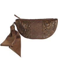 Sergio Rossi Satin Beaded Clutch With Ribbon Detail - Brown