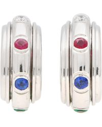 Piaget Possession Diamond, Ruby, Emerald And Sapphire Earrings In 18k Gold - White