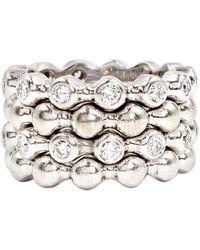 Chanel Set Of 4 18 Karat Gold And Diamond Stacking Rings - White
