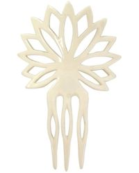 Saint Laurent 1970s Hand Carved Hair Comb - White