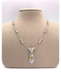 Judith Ripka 18 Karat White Gold Diamond, Sapphire And Beryl Necklace - Yellow