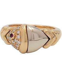 BVLGARI Bvlagri 'naturalia' Gold Diamond And Ruby Fish Ring - Yellow