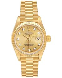 Rolex President Datejust Gold Diamond Ladies Watch 69178 Papers - Yellow