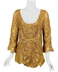Oscar de la Renta Lacquered Hand Crocheted Silk Tunic With Original Tags - Metallic