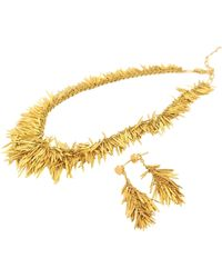 H Stern Rare Feathers Brushed Gold Necklace And Earrings With Diamond - Metallic