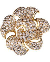 BVLGARI Bulgari Vintage Bring Back The Brooch 34 Carat Pave Diamond Gold Floral Brooch - Metallic