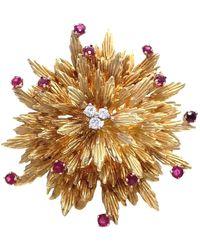 Tiffany & Co. Vintage Ruby Diamond 18 Karat Gold Brooch - Metallic