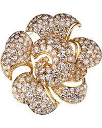 BVLGARI Bulgari La Dolce Vita 34 Carat Pave Diamond Gold Brooch - Metallic
