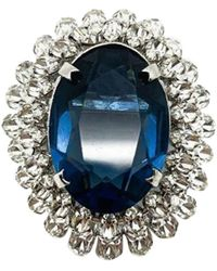 Dior Vintage Faux Sapphire & Diamond Crystal Brooch 1967 - Blue