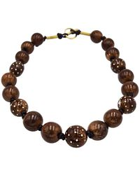 Silvia Furmanovich Coconut Beads Necklace With Diamonds And 18 Karat Gold - Yellow