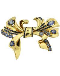 Sabbadini Fine 18 Karat Two-color Gold And Sapphire Brooch, - Blue