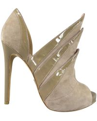 Alejandro Ingelmo Size 7 Taupe Suede 'origami' Peep Toe Boots - Brown