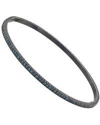 Yossi Harari Lilah Diamond Oxidized Silver Bangle - Blue