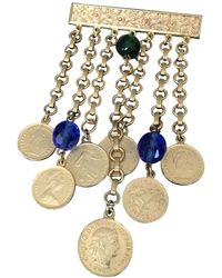 Ben-Amun Vintage Signed Ben-amun Dangling Link Coin Brooch Pin Estate Jewelry - Multicolor