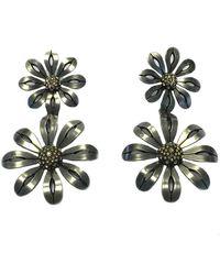 Lanvin Lanvin Flower Pendant Stud Earrings In Silver Plated Metal - Metallic